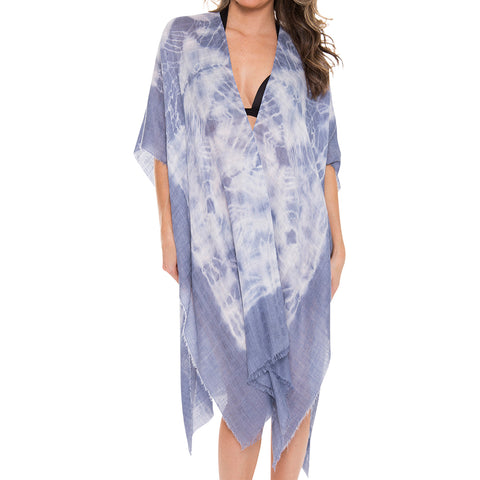 Women's Kimono Summer Tye-Dye Print Lightweight Long Top Cover Beachwear Dress