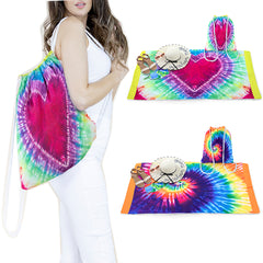 Beach Towel and Bag 2-in-1 Drawstring Tie-Dye Beach Pool Travel Accessory Set