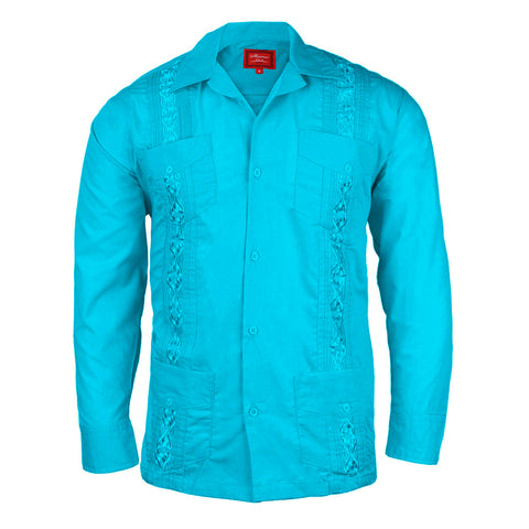 Men's Long Sleeve Guayabera Cuban Beach Wedding Button-Up Casual Dress Shirt