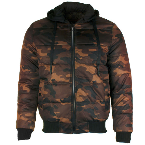 Maximos Men's Adam Zip Up Front Pocket Hooded Camouflage Jacket