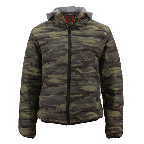 Maximos Men's BAH BAH Removable Hood Camouflage Print Puffer Jacket