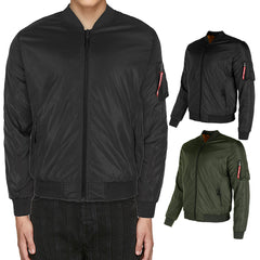 Maximos Men's Mike Zip Up Front and Sleeve Pocket Bomber Jacket