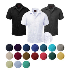 Guayabera Men's Cuban Beach Wedding Short Sleeve Button Up Casual Dress Shirt