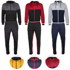 Mens Athletic Tracksuit Set Gym 2-Piece Zip Up Jacket Jogger Pants