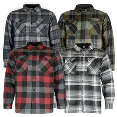 Maxxsel Men's Fleece Lined Button Front Side Pockets Flannel Plaid Shirt Jacket