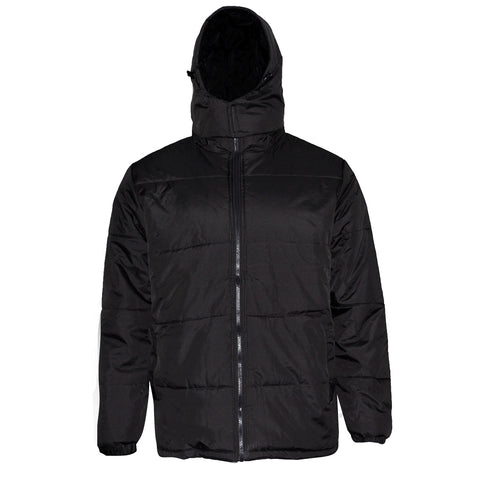 Mens Zipper Puffer Jacket Removable Hoodie Side Pockets Regular Fit
