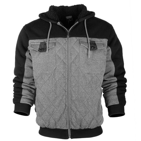 Original Deluxe Men's Sherpa Lined Pocket Front Zip Up Hoodie