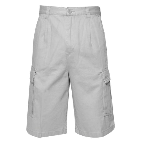 "Men's Cargo Pocket Shorts Cotton 11"" Relaxed Fit - Olive Khaki Navy Black Grey"