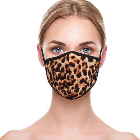 Face Mask Flag Camouflage Leopard Cotton Double Layer Washable Face Cover Unisex