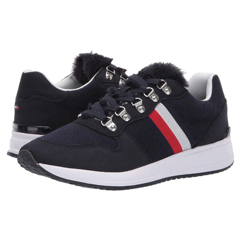 Tommy Hilfiger Women's Riplee Fabric Faux Fur Lace Up Sneakers Shoes