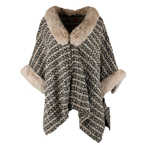 Very Moda Women's Faux Fur Trimmed Tweed Pattern Cape