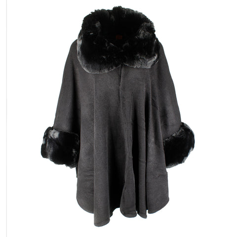 Very Moda Women's Faux Fur Neck and Sleeve Knitted Cape No Size