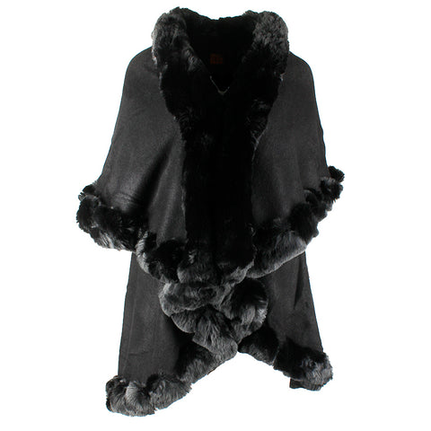 Very Moda Women's Trimmed Faux Fur Multi Layer Knitted Cape No Size
