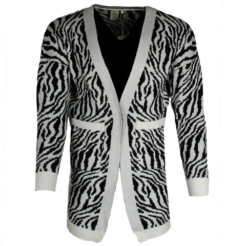 Very Moda Women's Long Sleeve Zebra Print Pocket Cardigan
