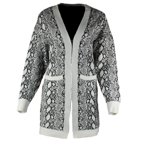 Very Moda Women's Long Sleeve Snake Print Pocket Cardigan