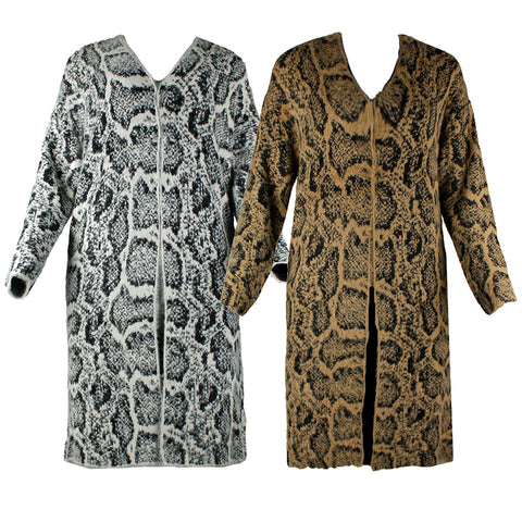 Very Moda Women's Long Sleeve Eyelash Knit Snake Print Cardigan With Pockets