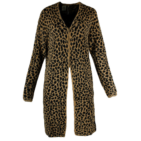 Very Moda Women's Eyelash Knit Cheetah Print Cardigan With Pockets