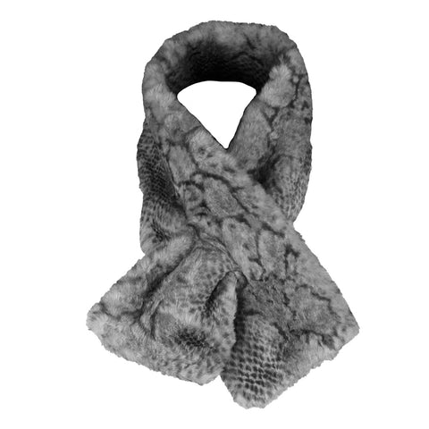 Very Moda Women's Trimmed Faux Fur Snake Print Scarf No Size