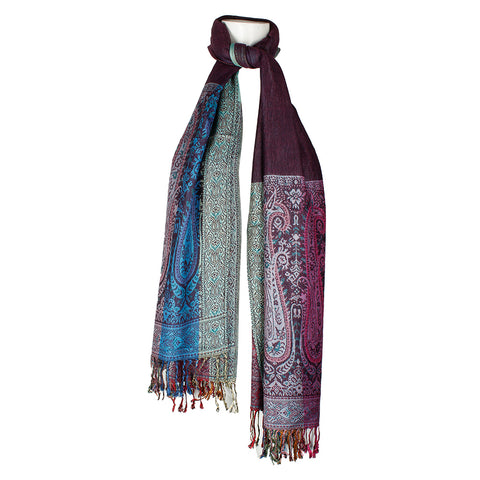 Very Moda Women's Two Sides Long Large Paisley Print Fringed Soft Pashmina Scarf