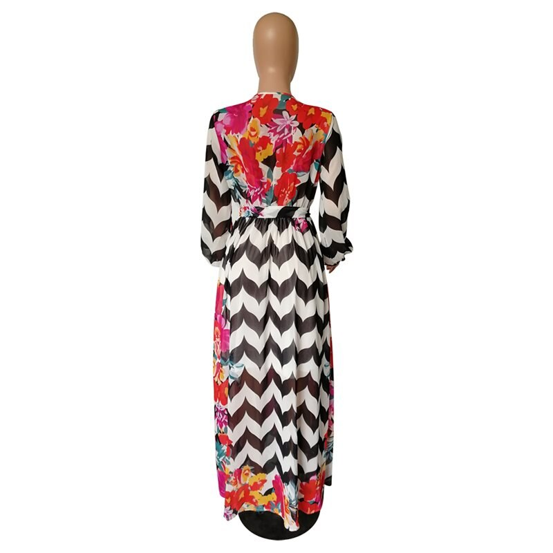 Stripe Floral Print Long Sleeve Chiffon Dress