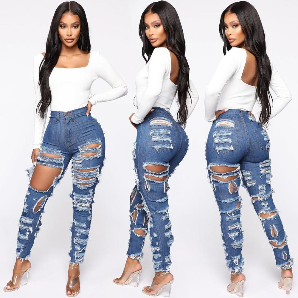Ripped High Waist Stretch Denim