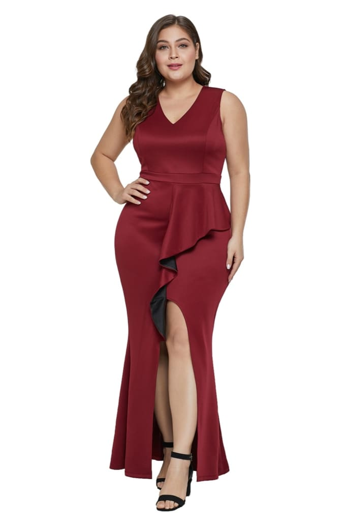 Red-Plus-Ruffle-Enchantment-Dress-LC610952-3-1