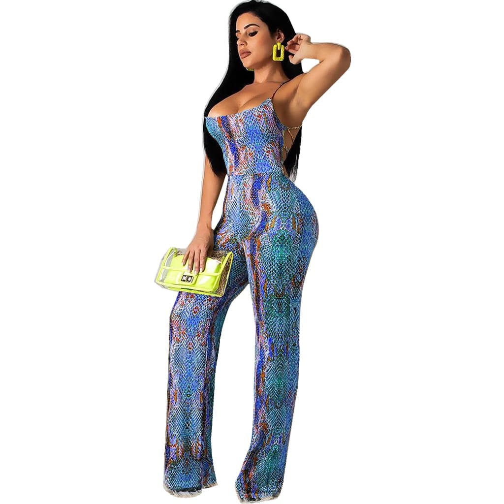 Sexy Lace Up Snake Skin Printed Overalls Jumpsuit Women Casual Backless Bandage Low Cut Romper Night Party Streetwear Playsuit