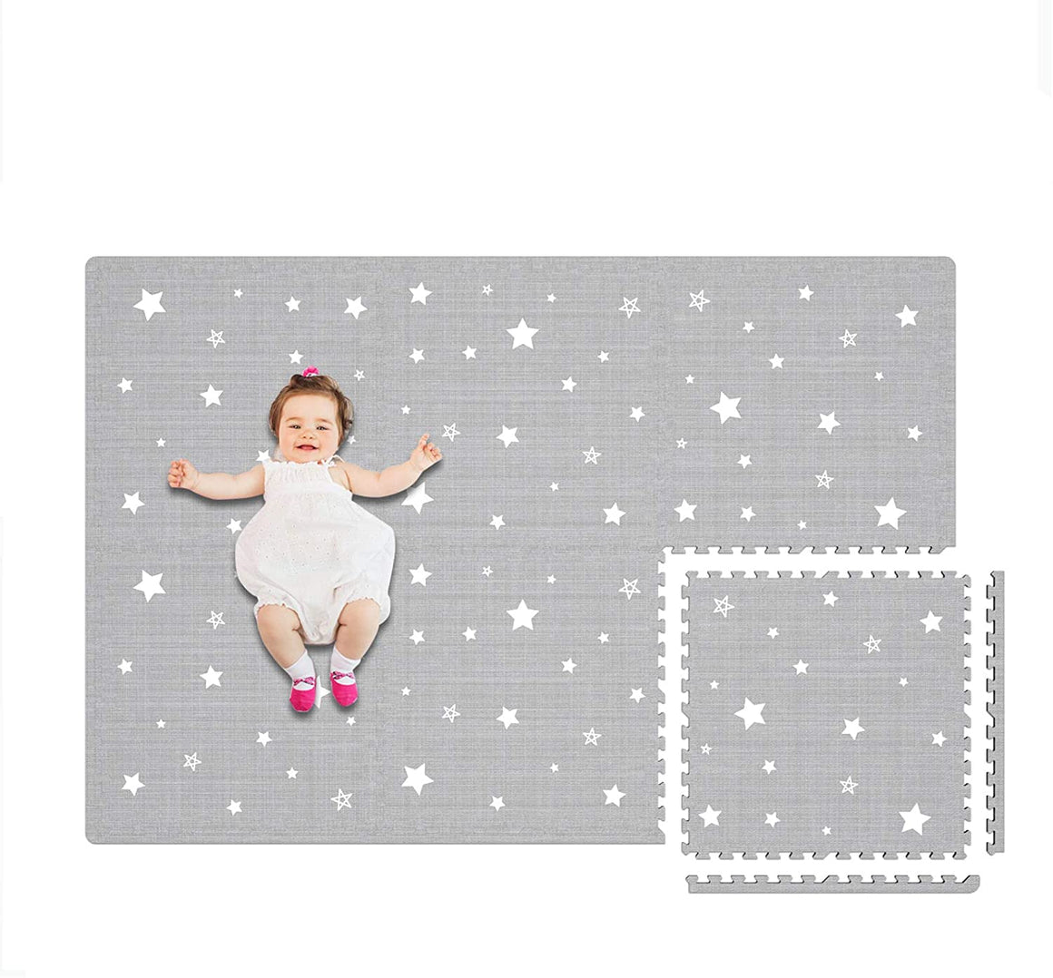 Baby Play Mat - Extra Large (4FT x 6FT) - White Star