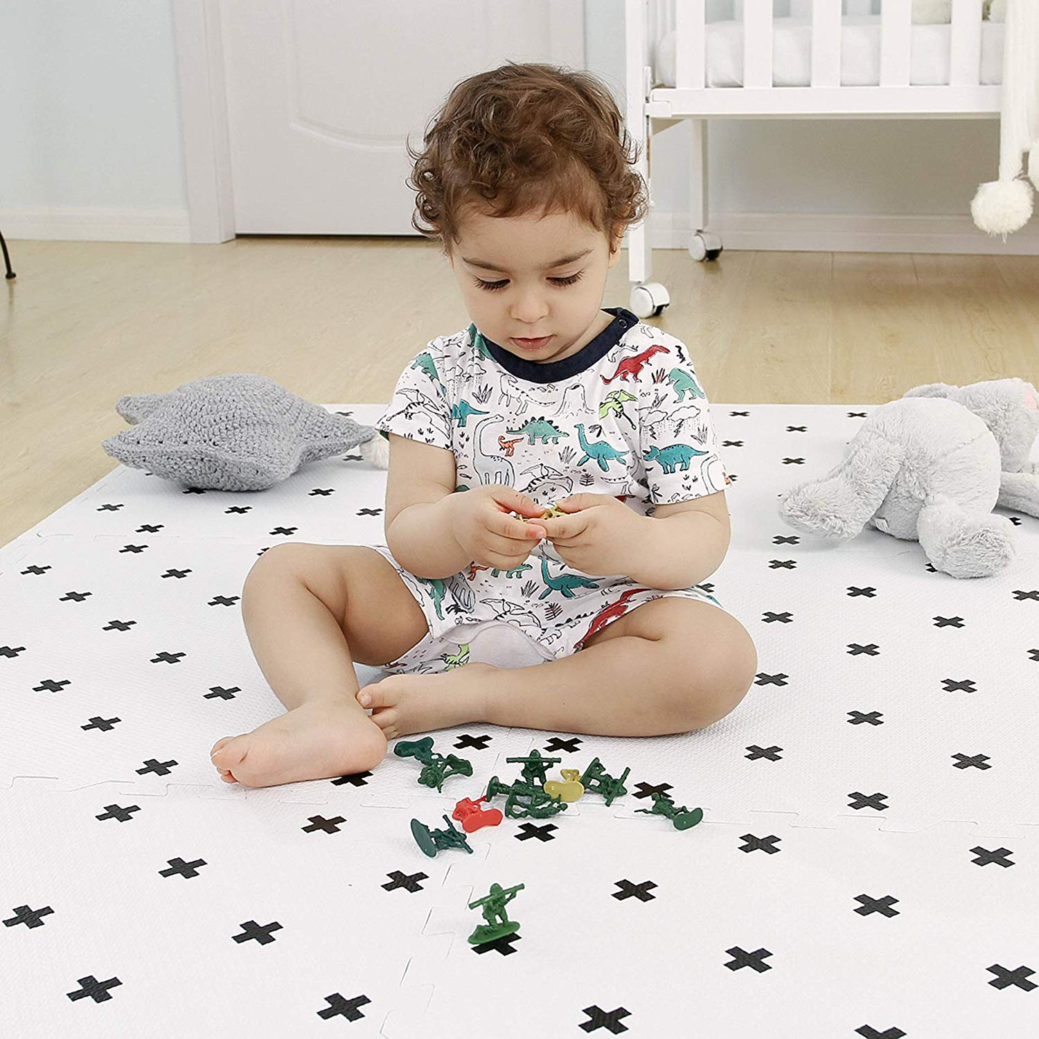 Baby Play Mat with Fence Extra Large Non Toxic Foam Puzzle Floor Mat for Kids 5FT x 6FT