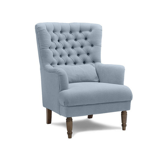 Slate Blue Button Tufted Winged Armchair