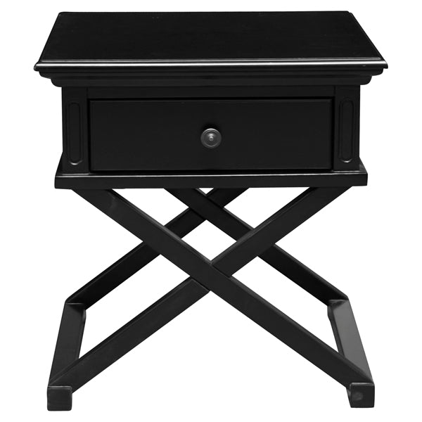 Hampton Black Cross Leg Bedside Table