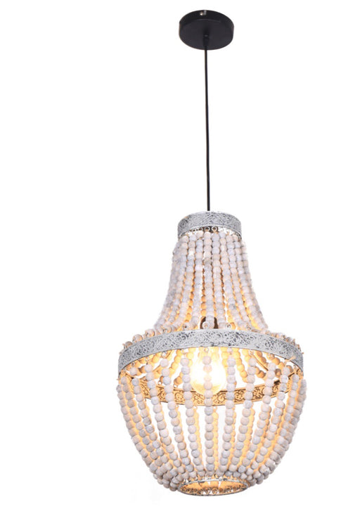 Beaded Whitewash Wooden Chandelier