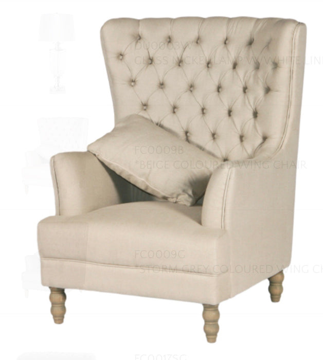 Beige Linen Button Tufted Winged Armchair