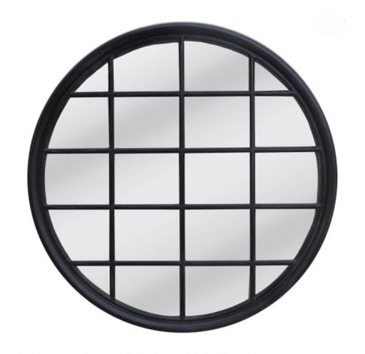 Hamptons Black Round Mirror