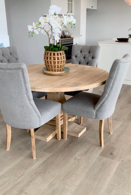 Storm Grey Linen Dining Chair