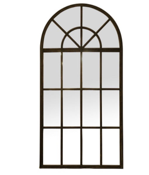 Large Black Iron Arch Mirror