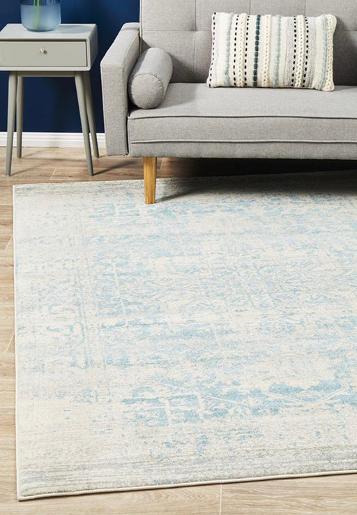 Evoke White Blue Rug