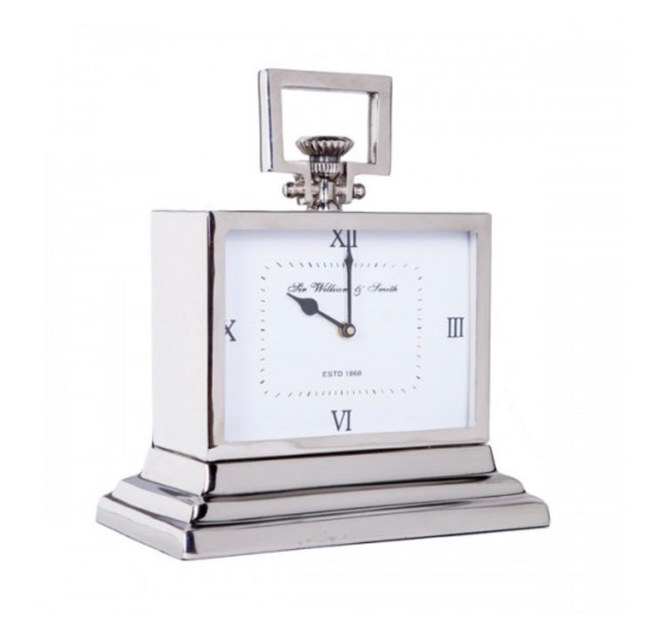 William & Smith Small White Mantle Clock