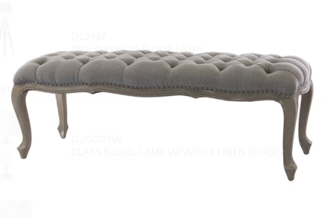 Storm Grey Linen Bench Seat with Oak Legs