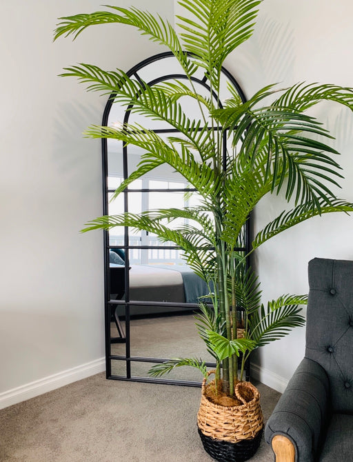 Tall Black Iron Arch Mirror