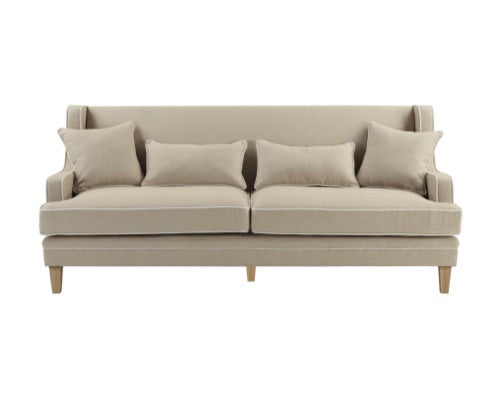 Hudson Beige 3 Seater Sofa with White Piping