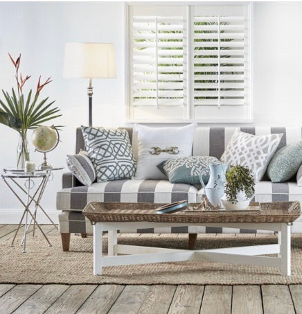 Hudson Grey Stripe 3 Seater Sofa