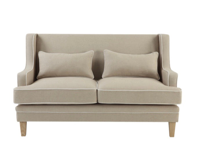 Hudson Beige 2 Seater Sofa with White Piping