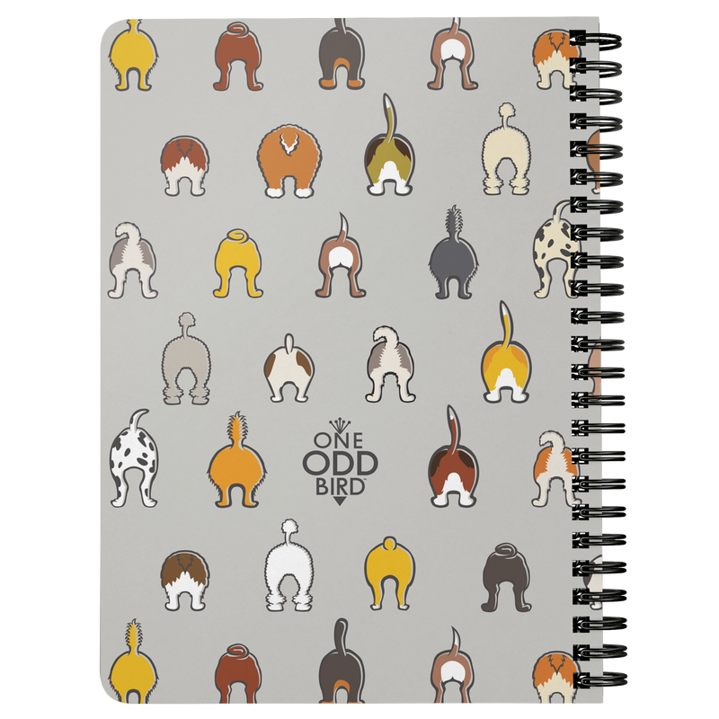 Happy Tails Lined Spiral Notebook - Gray