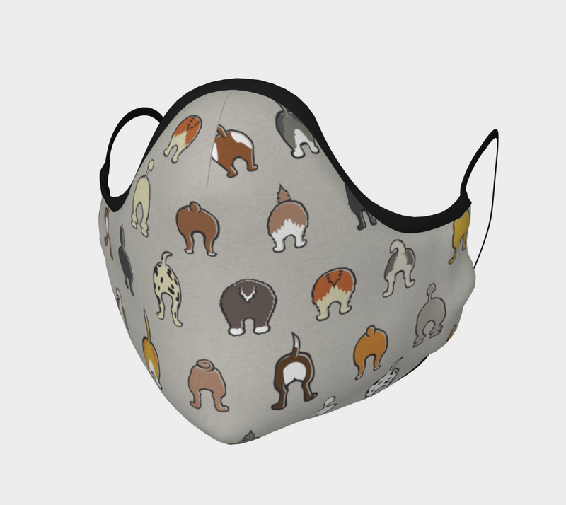 Happy Tails Face Mask - Soft Grey