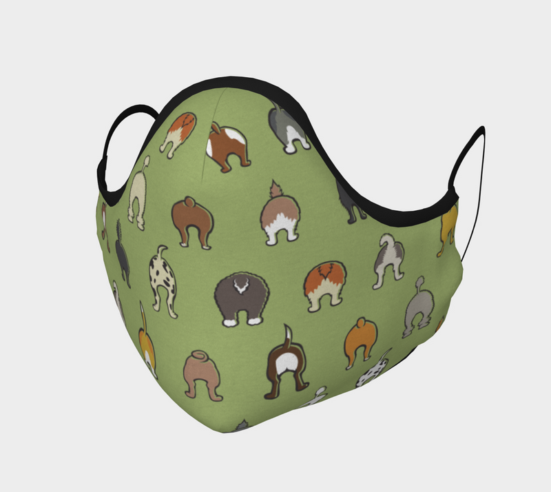 Happy Tails Face Mask - Soft Green