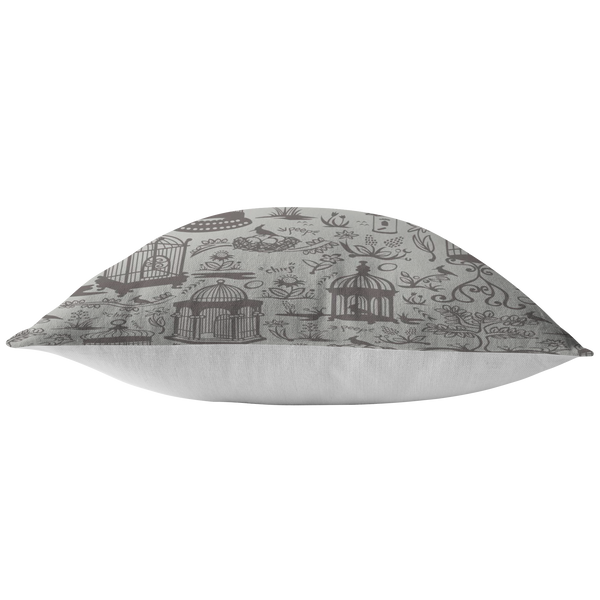 Bird Cage Toile Pillow - Gray