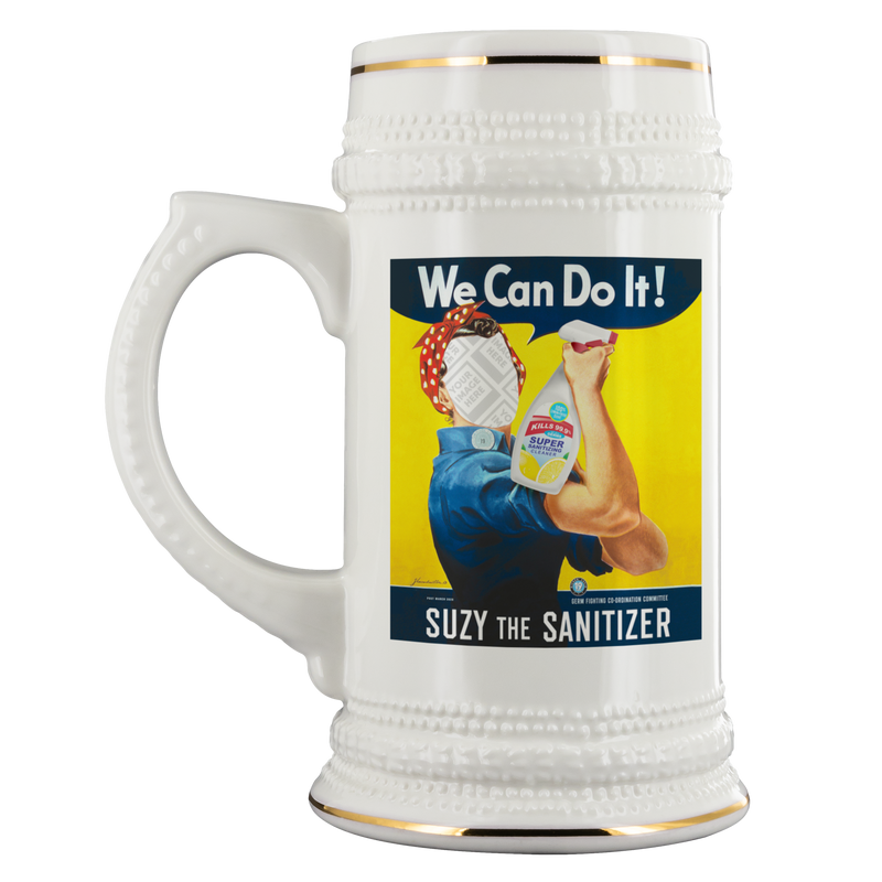 PERSONALIZE! Suzy The Sanitizer 22oz. Stein - FREE Shipping