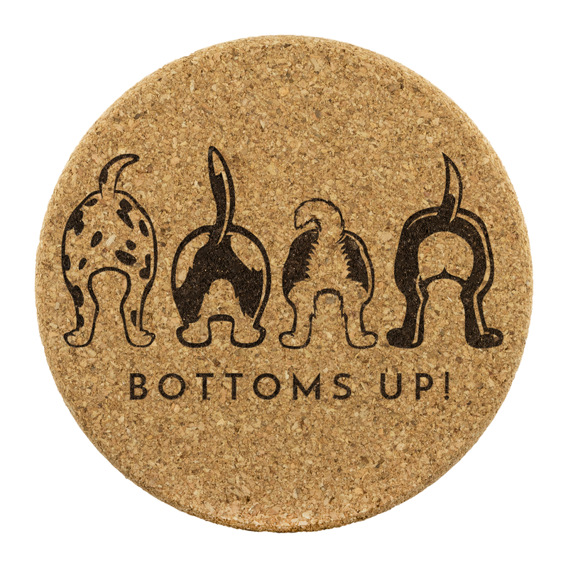 Bottoms Up! Happy Tails Cork Coasters - Set of 4