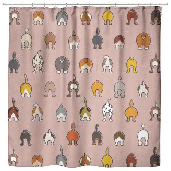 Happy Tails Oxford Cloth Shower Curtain - Blush